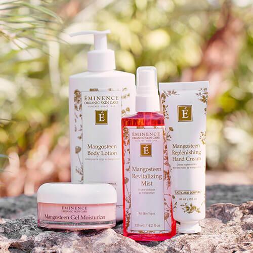 Produits de soins de la peau pour le visage et le corps au mangoustan Eminence Organics