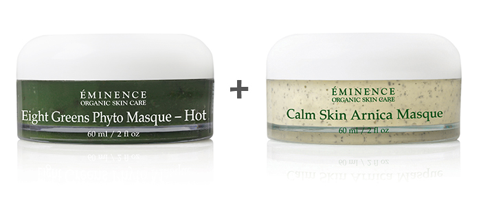 Eminence Organics Eight Greens Phyto Masque (Hot) and Calm Skin Arnica Masque