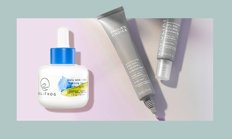HoliFrog Halo AHA + BHA Evening Serum et Paula's Choice SKIN PERFECTING 25% AHA + 2% BHA Exfoliant Peel